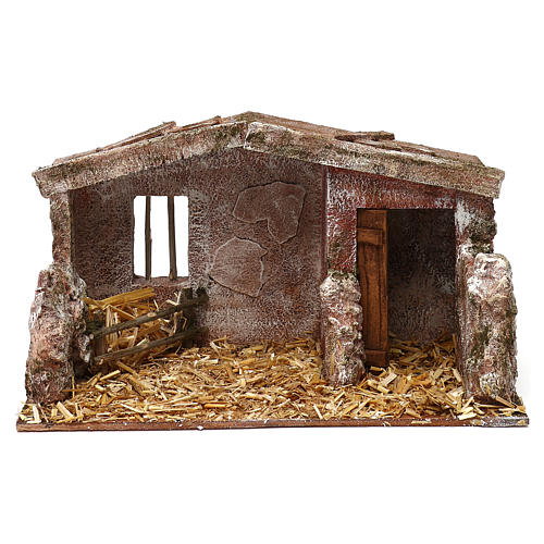 Shack with door for 12 cm Nativity scene, 20x35x20 cm 1