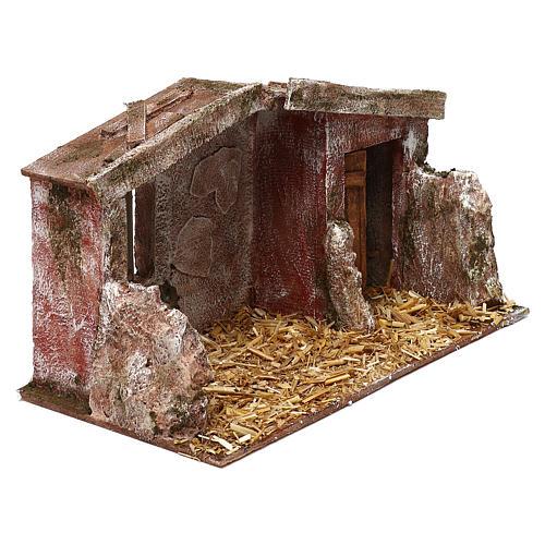 Shack with door for 12 cm Nativity scene, 20x35x20 cm 3
