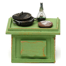 Settings, houses, workshops, wells: Green shop table with tools for 10 cm Nativity scene, 10x10x5 cm
