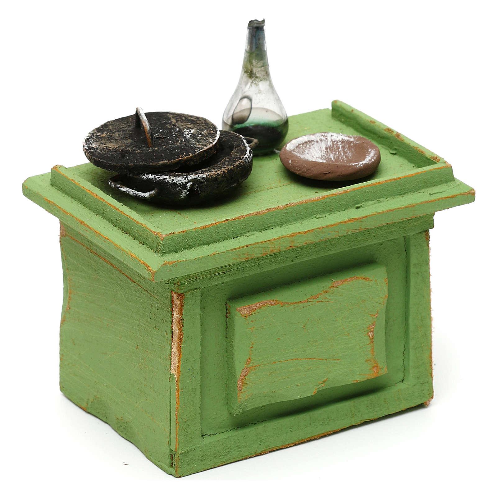 Mostrador verde tienda con accesorios 10x10x5 cm para belenes de 10 cm 4