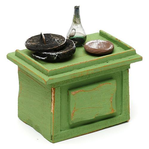Mostrador verde tienda con accesorios 10x10x5 cm para belenes de 10 cm 3