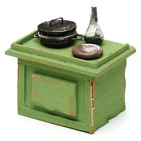 Banchetto verde bottega con accessori 10x10x5 cm per presepi di 10 cm s2