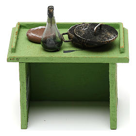Banchetto verde bottega con accessori 10x10x5 cm per presepi di 10 cm s4