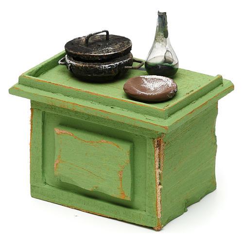 Banchetto verde bottega con accessori 10x10x5 cm per presepi di 10 cm 2