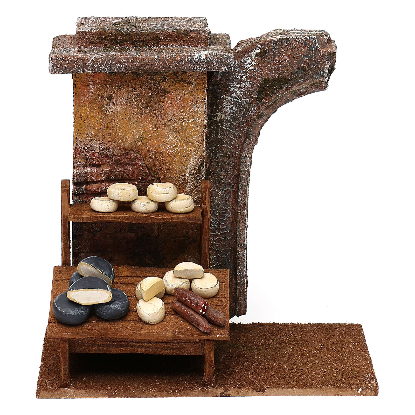 Cheese seller setting for 12 cm Nativity scene, 20x25x10 cm 4