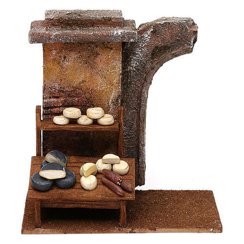 Cheese seller setting for 12 cm Nativity scene, 20x25x10 cm 1