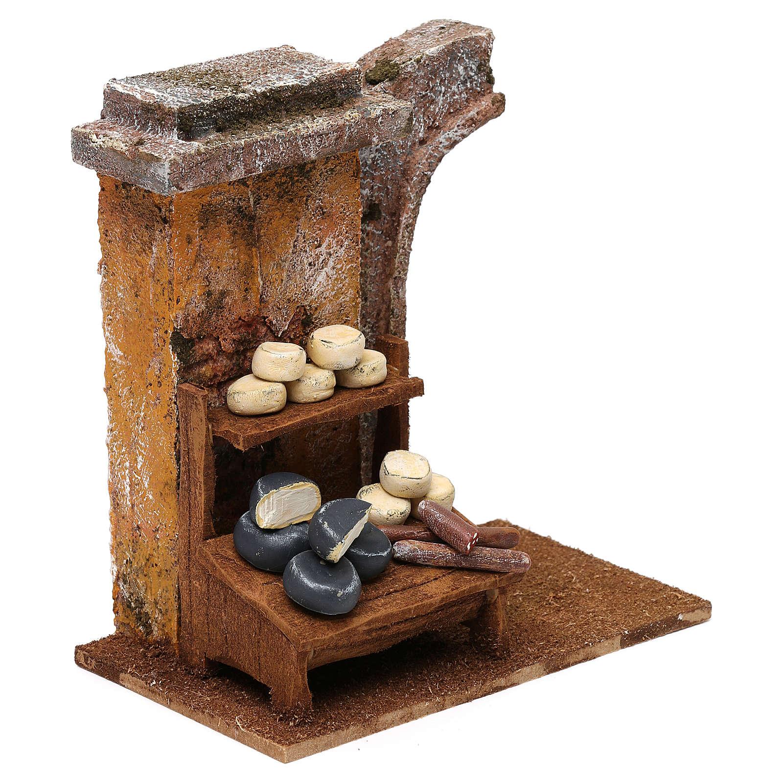 Cheese seller setting for 10 cm Nativity scene, 15x15x10 cm 4