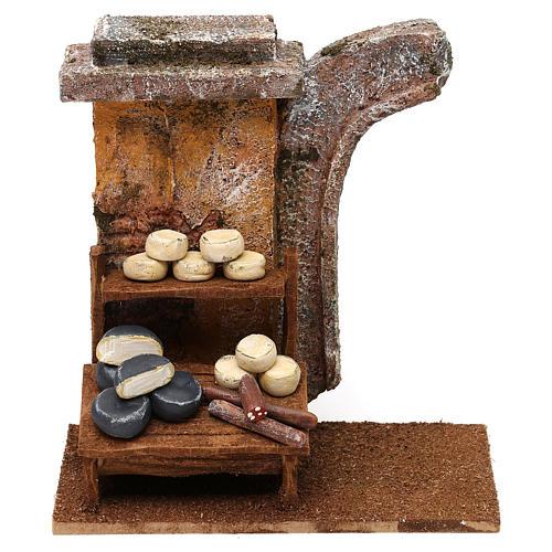 Escena mostrador quesos 15x15x10 cm para belenes de 10 cm 1