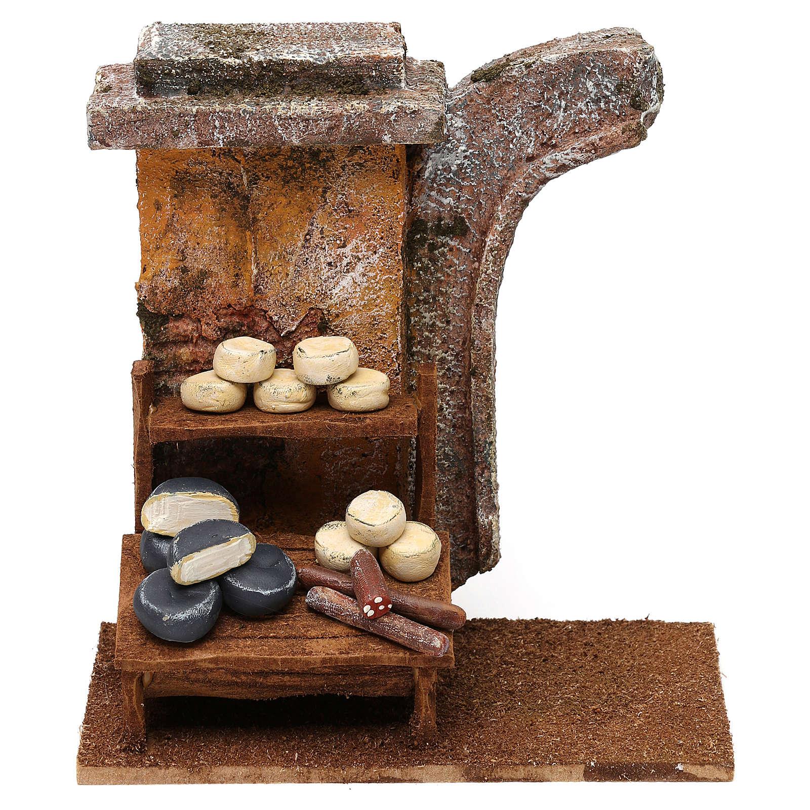 Scena banchetto formaggi 15x15x10 cm per presepi di 10 cm 4