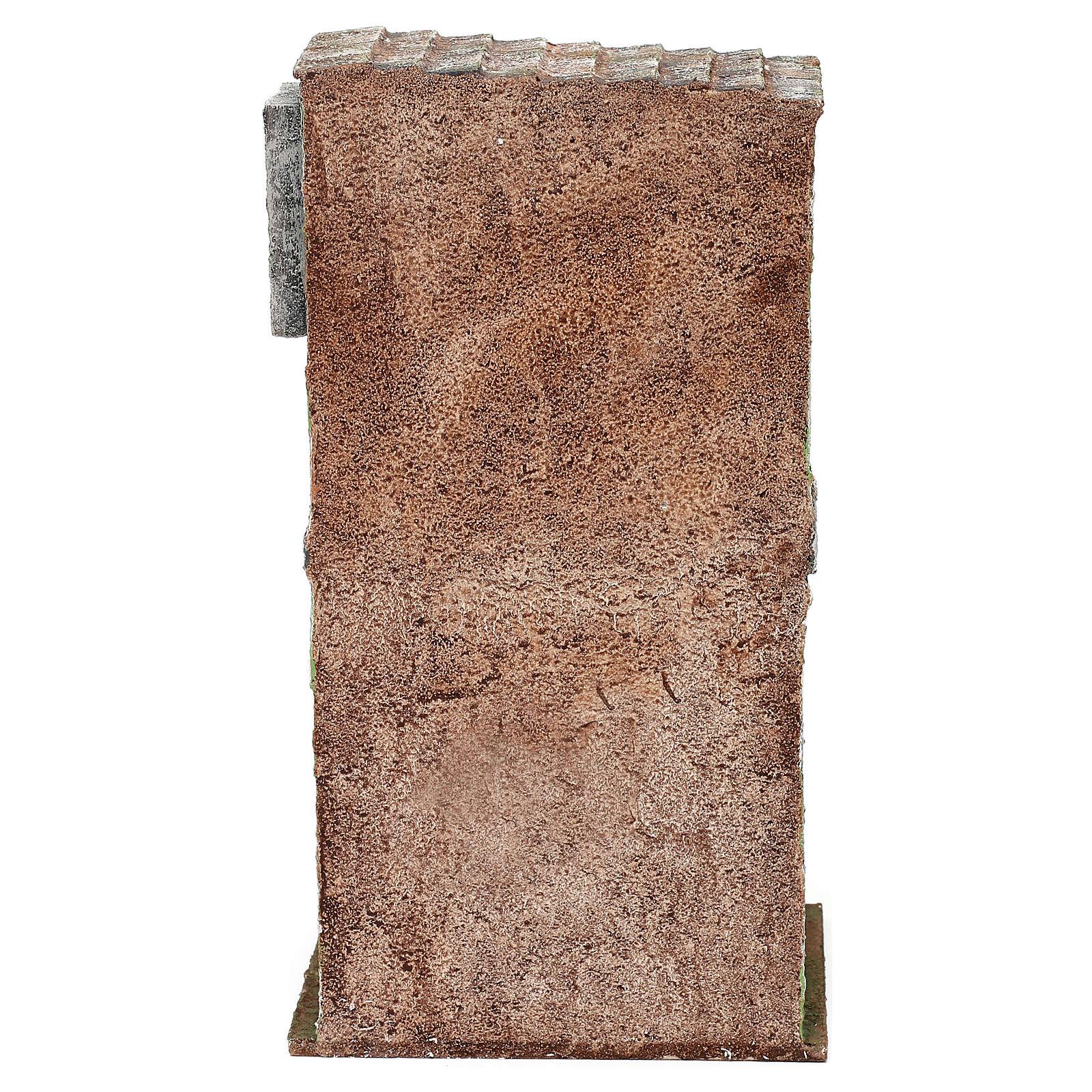 Casita mampostería con balcón y establo 25x15x10 cm belenes 10 cm 4
