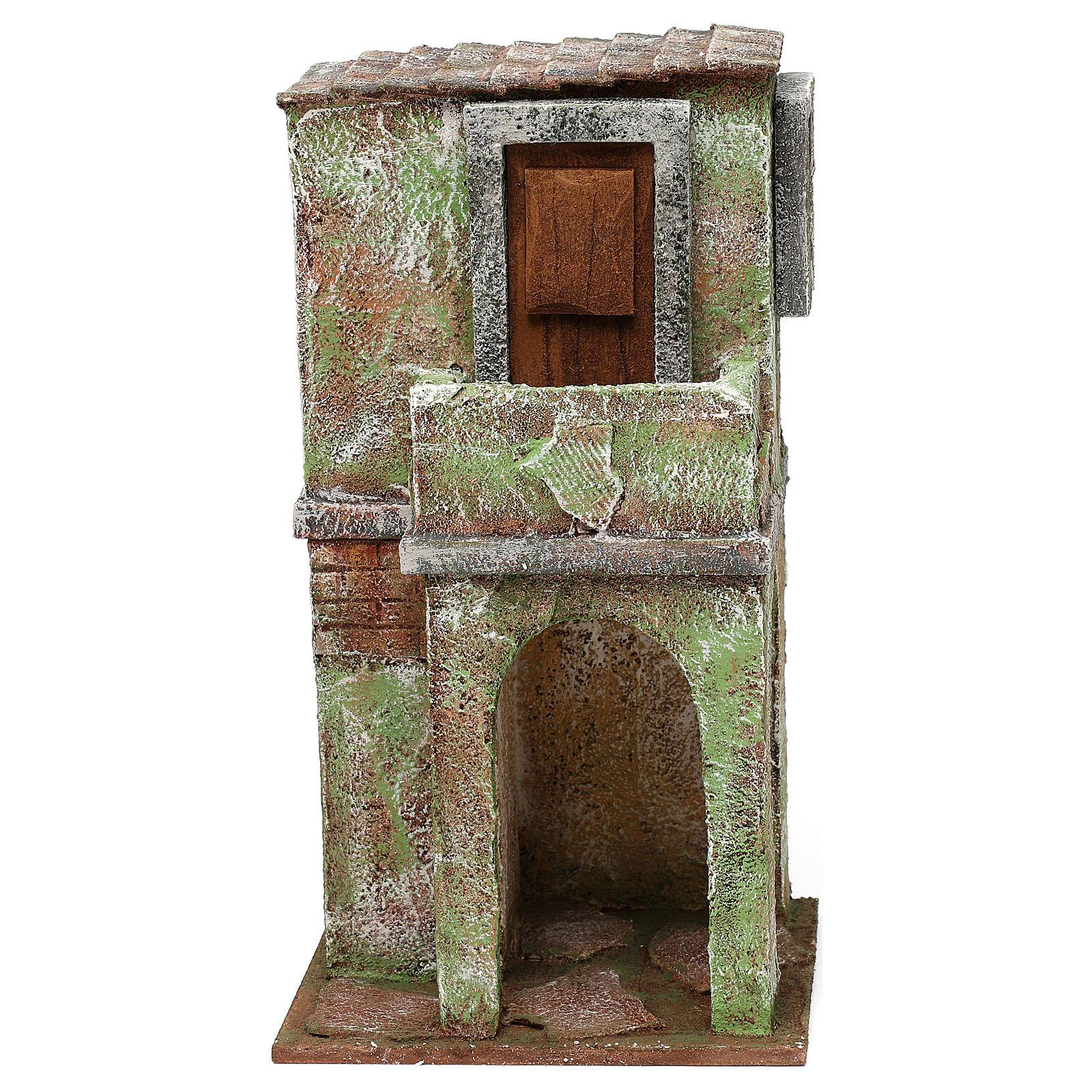 Casetta muratura verde con balconcino e stalla 25x15x10 cm presepi 10 cm 4