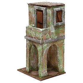 Casetta muratura verde con balconcino e stalla 25x15x10 cm presepi 10 cm s2
