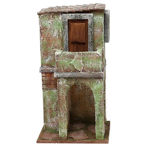 Casetta muratura verde con balconcino e stalla 25x15x10 cm presepi 10 cm 1