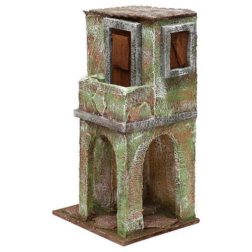Casetta muratura verde con balconcino e stalla 25x15x10 cm presepi 10 cm 2