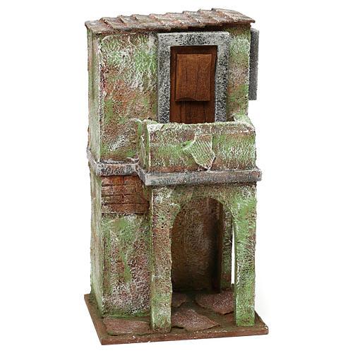 Casetta muratura verde con balconcino e stalla 25x15x10 cm presepi 10 cm 3