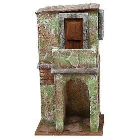 Ambientações para Presépio: lojas, casas, poços: Casinha em alvernaria verde com balcão e estábulo 25x15x10 cm para presépio com figuras de 10 cm de altura média