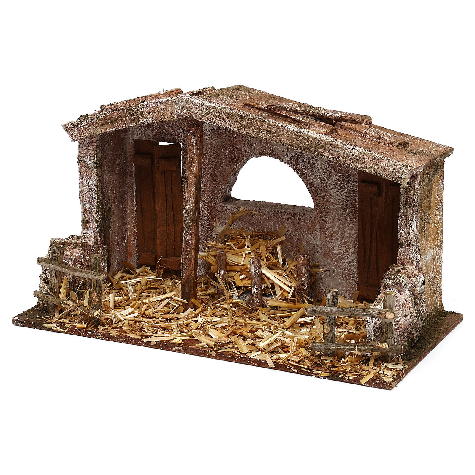 Shack with manger and two doors for 10 cm Nativity scene, 20x30x15 cm 4