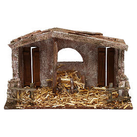 Shack with manger and two doors for 10 cm Nativity scene, 20x30x15 cm s1