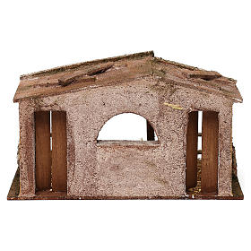 Shack with manger and two doors for 10 cm Nativity scene, 20x30x15 cm s4