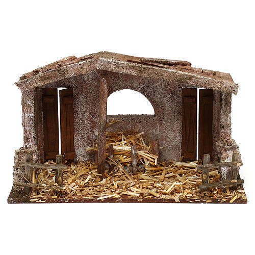 Shack with manger and two doors for 10 cm Nativity scene, 20x30x15 cm 1