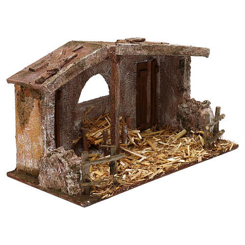 Shack with manger and two doors for 10 cm Nativity scene, 20x30x15 cm 3