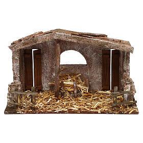 Cabanas e Grutas para Presépio: Cabana com fenil e 2 portas 20x30x15 cm para presépio com figuras de 10 cm de altura média