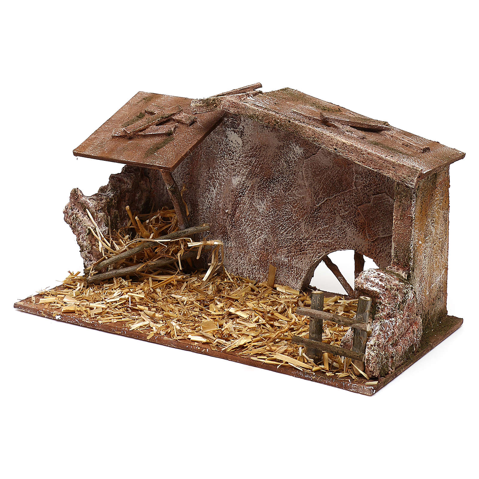 Shack with straw and manger for 12 cm Nativity scene, 20x35x20 cm 4