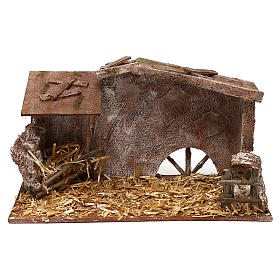Shack with straw and manger for 12 cm Nativity scene, 20x35x20 cm s1