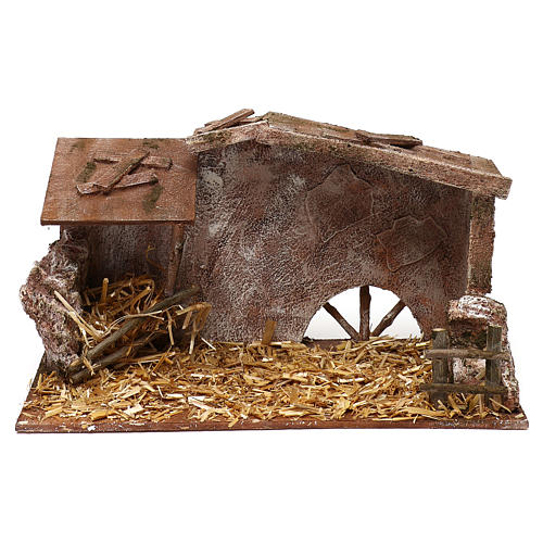Shack with straw and manger for 12 cm Nativity scene, 20x35x20 cm 1