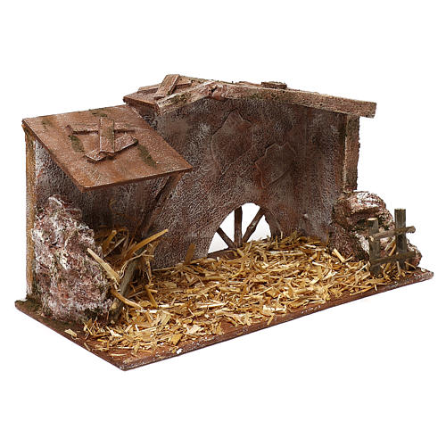 Shack with straw and manger for 12 cm Nativity scene, 20x35x20 cm 3