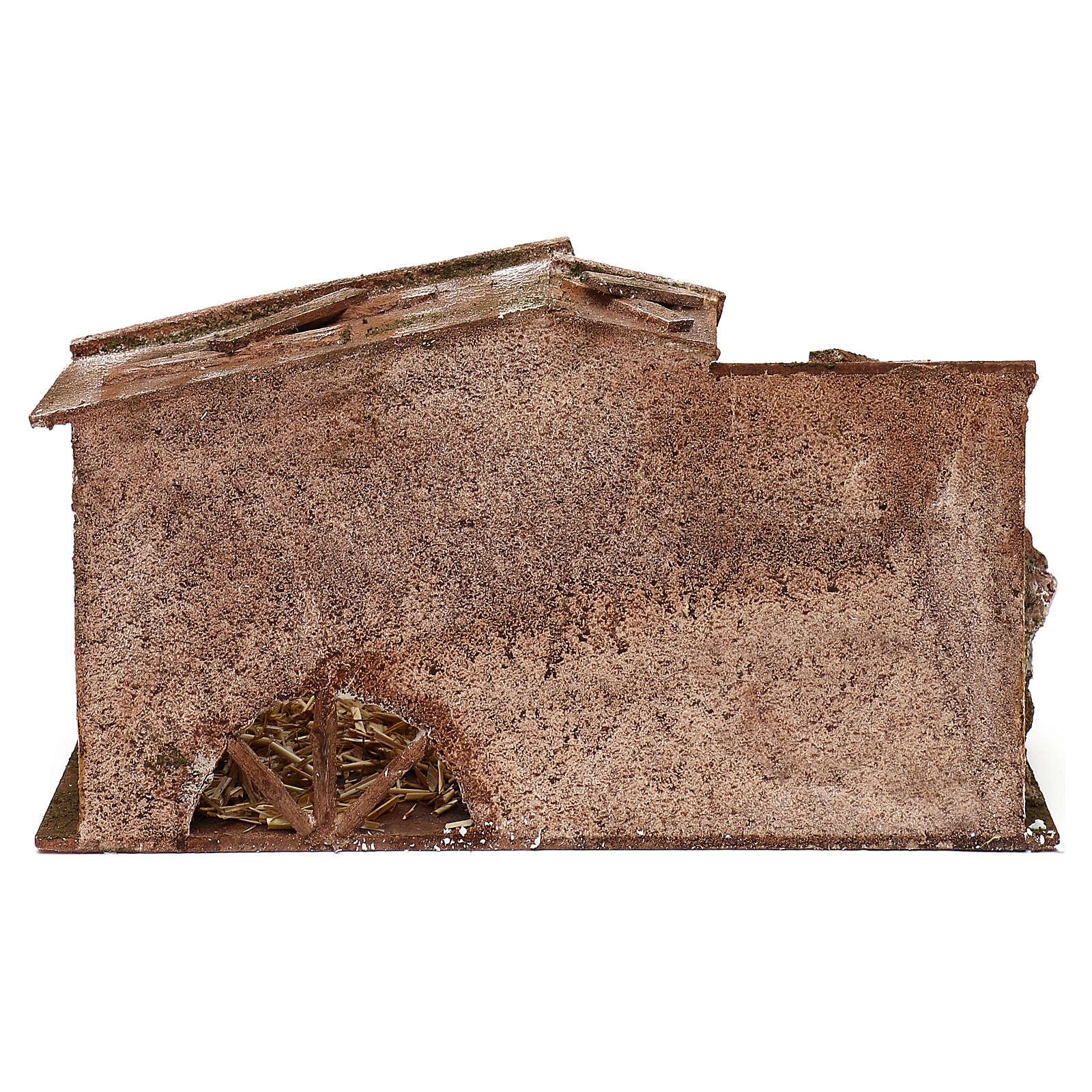 Capanna paglia e fienile presepe 20x35x20 cm per presepi di 12 cm 4