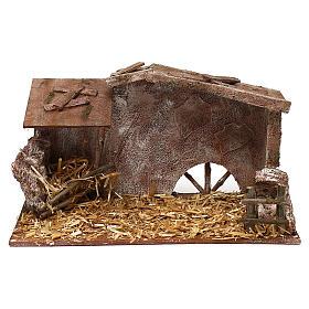 Cabanas e Grutas para Presépio: Cabana palha e fenil 20x35x20 cm para presépio com figuras de 12 cm de altura média