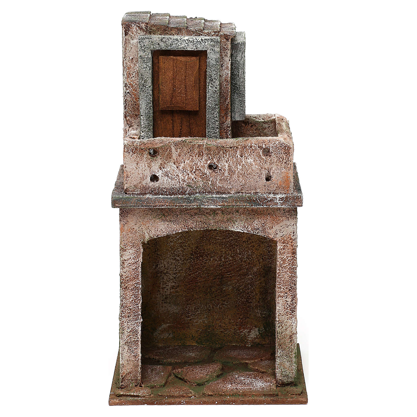 House with balcony and roofed area for 10 cm Nativity scene, 25x15x10 cm 4
