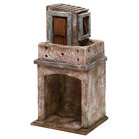 House with balcony and roofed area for 10 cm Nativity scene, 25x15x10 cm s2
