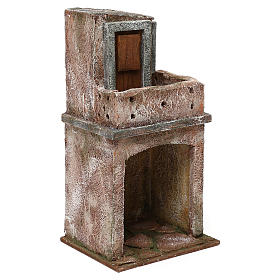 House with balcony and roofed area for 10 cm Nativity scene, 25x15x10 cm s3
