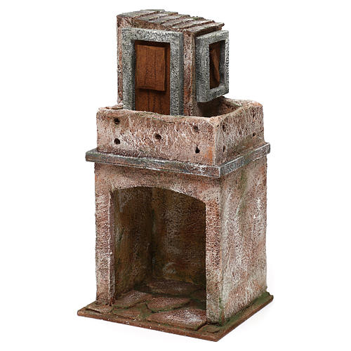 House with balcony and roofed area for 10 cm Nativity scene, 25x15x10 cm 2