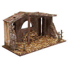 Shack with fenced fireplace for 12 cm Nativity scene, 20x35x10 cm s3
