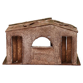 Shack with fenced fireplace for 12 cm Nativity scene, 20x35x10 cm s4