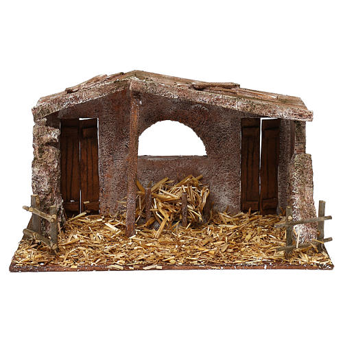 Shack with fenced fireplace for 12 cm Nativity scene, 20x35x10 cm 1