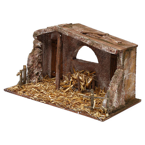 Shack with fenced fireplace for 12 cm Nativity scene, 20x35x10 cm 2