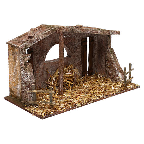Shack with fenced fireplace for 12 cm Nativity scene, 20x35x10 cm 3