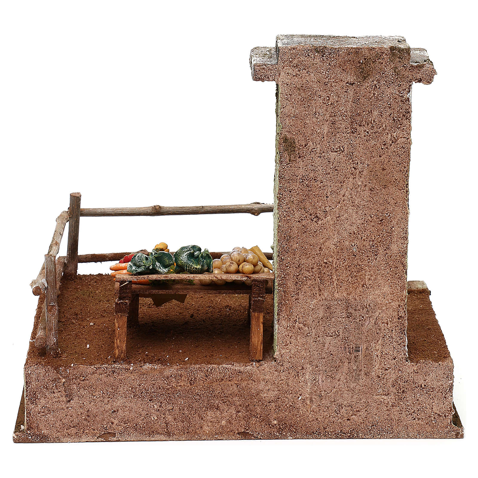 Setting with stall for 12 cm Nativity scene, 20x25x20 cm 4