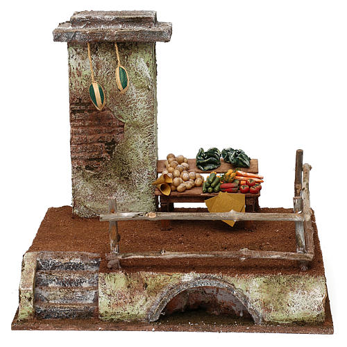 Setting with stall for 12 cm Nativity scene, 20x25x20 cm 1