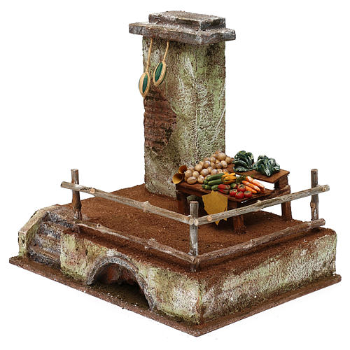 Setting with stall for 12 cm Nativity scene, 20x25x20 cm 2