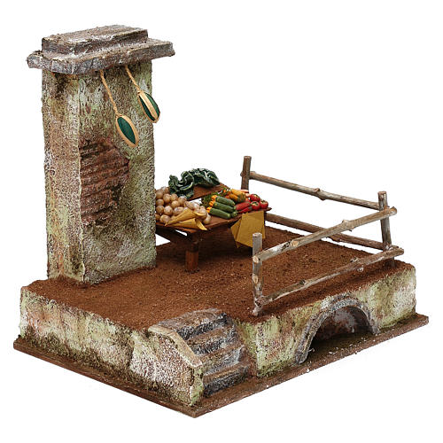 Setting with stall for 12 cm Nativity scene, 20x25x20 cm 3
