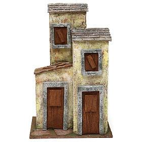 Ambientações para Presépio: lojas, casas, poços: Casinha de 3 andares 30x20x15 cm para presépio com figuras de 10 cm de altura média