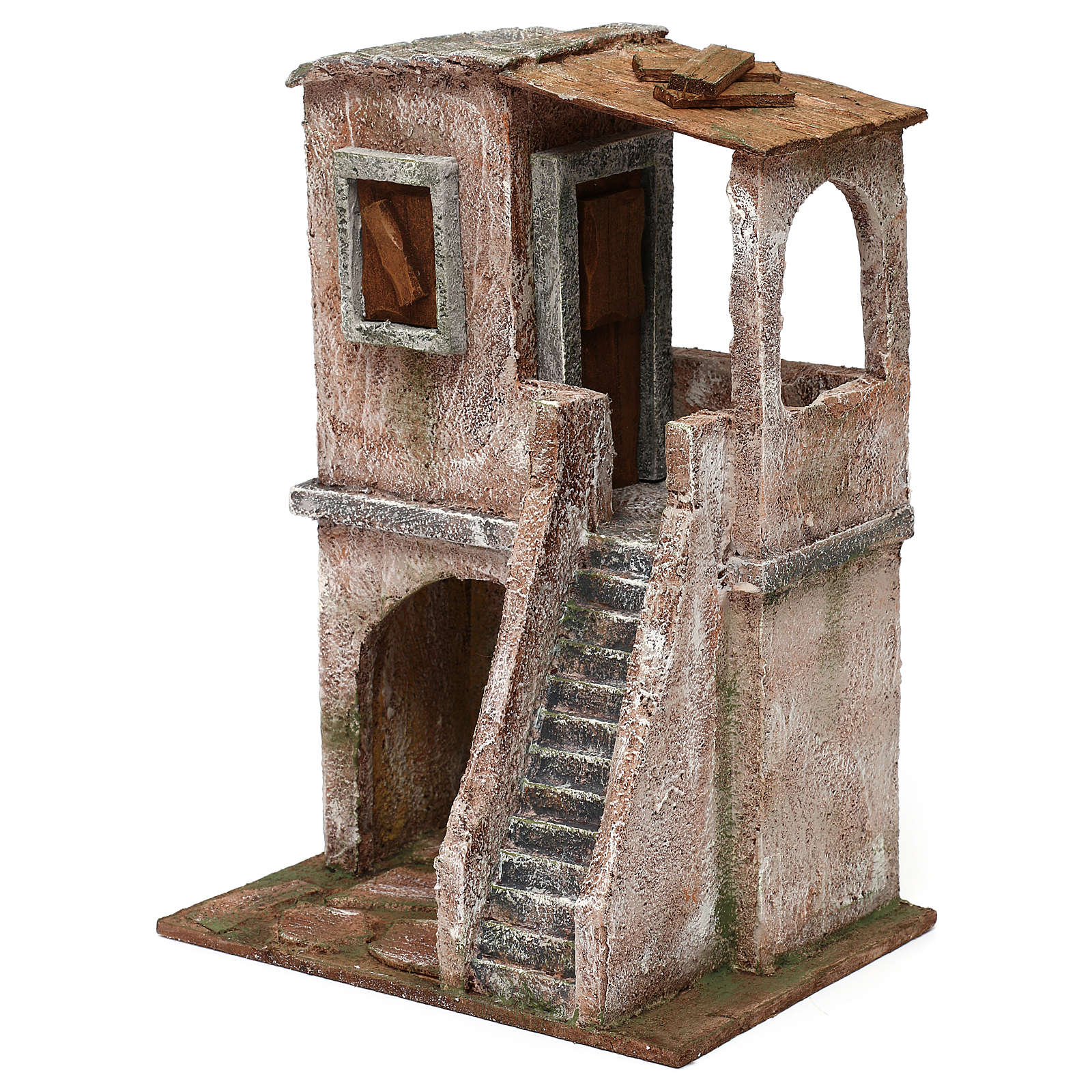 Two-floor house for 10 cm Nativity scene, 30x20x15 cm 4