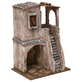 Two-floor house for 10 cm Nativity scene, 30x20x15 cm s3
