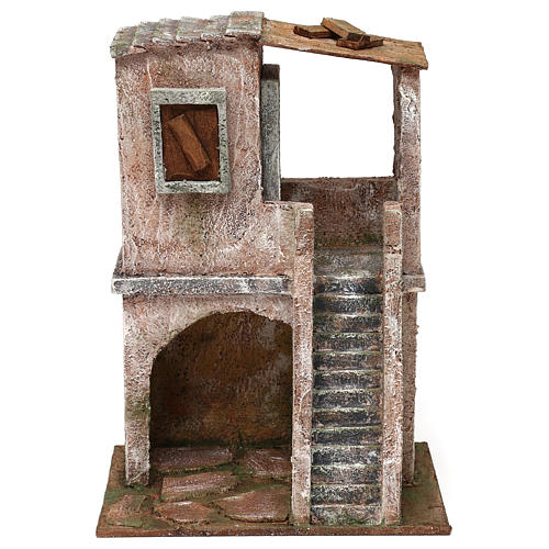Two-floor house for 10 cm Nativity scene, 30x20x15 cm 1
