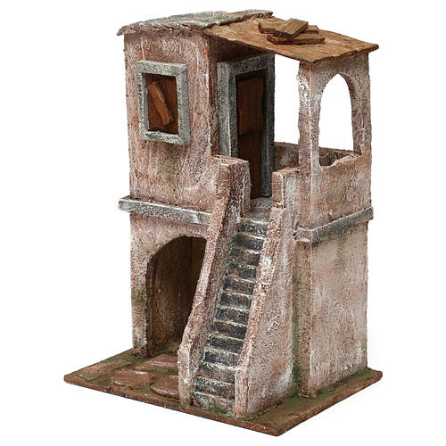 Two-floor house for 10 cm Nativity scene, 30x20x15 cm 2